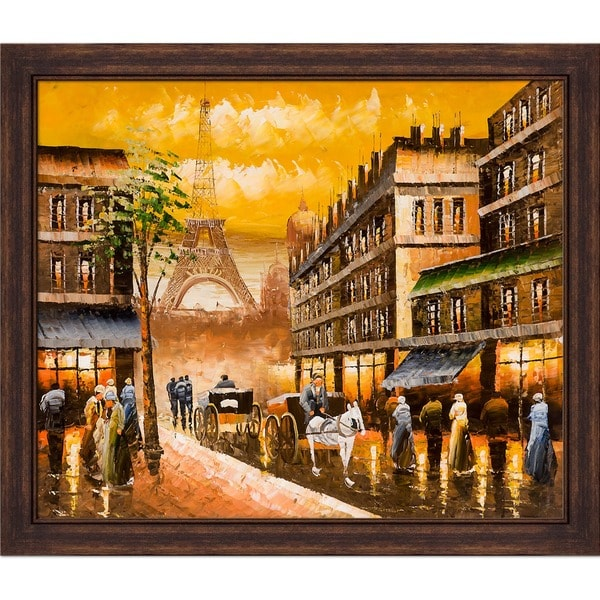 Hand-painted 'Evening's Delight In Paris' Framed Canvas Art
