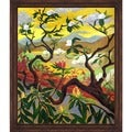 Paul-Elie Ranson 'Japanese Style Landscape' Hand-painted Framed Canvas Art