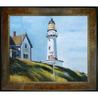 Edward Hopper 'Lighthouse at Two Lights' Hand-painted Framed Canvas Art