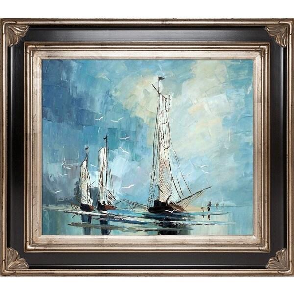 Justyna Kopania 'Boats' Hand-painted Framed Canvas Art