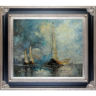 Justyna Kopania 'Boats' Hand-painted Framed Canvas Art