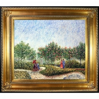 Vincent Van Gogh 'Couples in the Voyer d Argenson Park at Asnierse' Hand-painted Framed Canvas Art