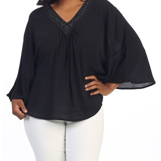Hadari Women's Plus Size Black Dolman Sleeve Top