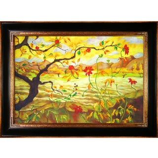 Paul-Elie Ranson 'Apple Tree With Red Fruit' Hand-painted Framed Canvas Art