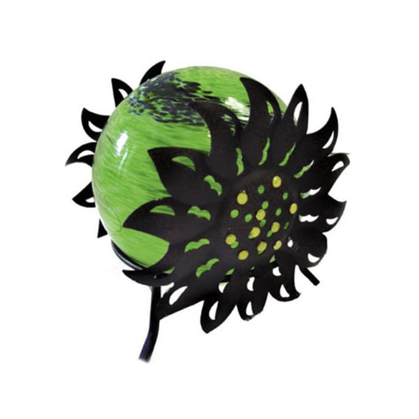 Solar Glass Silho Sunflower with Green Light
