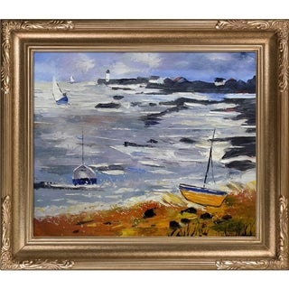 Pol Ledent 'Seascape 675060' Hand-painted Framed Canvas Art