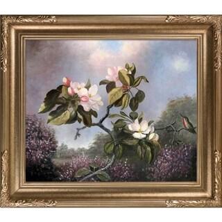 Martin Johnson Heade 'Apple Blossoms and Hummingbird' Hand-painted Framed Canvas Art
