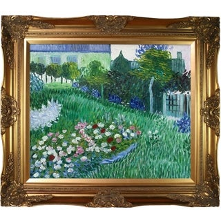 Vincent Van Gogh 'The Garden of Daubigny' Hand-painted Framed Canvas Art