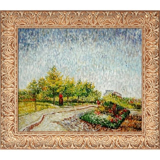Vincent Van Gogh 'Lane in the Argenson Park at Asnieres Spring' Hand-painted Framed Canvas Art