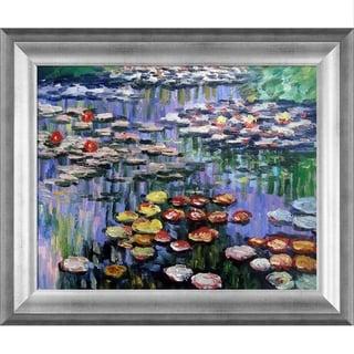 Claude Monet 'Water Lilies (pink)' Hand-painted Framed Canvas Art