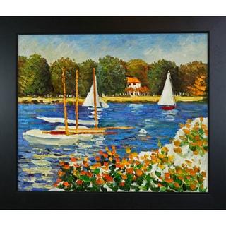 Claude Monet 'Bassin d'Argenteuil' Hand-painted Framed Canvas Art
