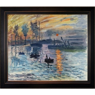 Claude Monet 'Impression, Sunrise' Hand-painted Framed Canvas Art