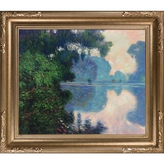 Claude Monet 'Morning on the Seine near Giverny' Hand-painted Framed Canvas Art