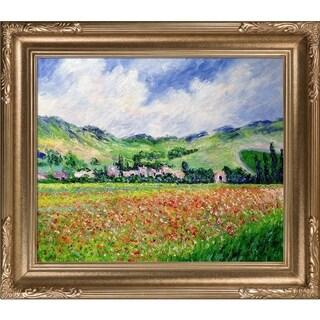 Claude Monet 'Poppy Field near Giverny' Hand-painted Framed Canvas Art