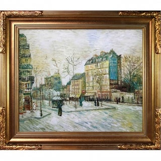 Vincent Van Gogh 'Boulevard de Clichy' Hand-painted Framed Canvas Art