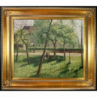 Camille Pissarro 'An Enclosure in Eragny' Hand-painted Framed Canvas Art