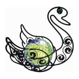 Solar Glass Wire Critter Swan with Green Light