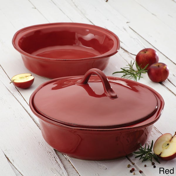 Rachael Ray Cucina Stoneware 3-piece Cranberry Red Round Casserole and Lid Set 13310392