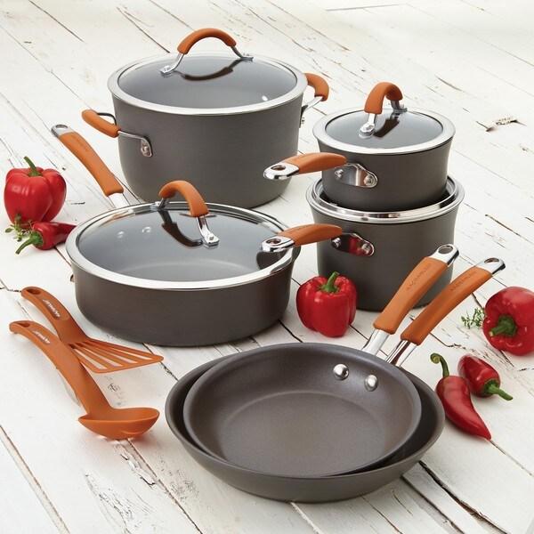Rachael Ray Cucina Orange Hard-anodized Nonstick 12-piece Cookware Set 13310452