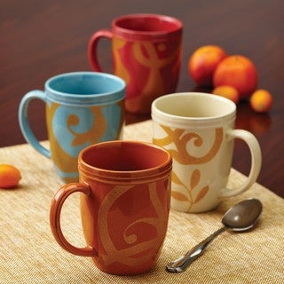 Rachael Ray Dinnerware Gold Scroll 4-piece Mug Set