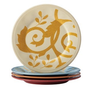 Rachael Ray Dinnerware Gold Scroll 4-piece Round Appetizer Plate Set