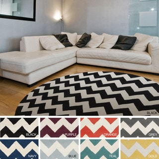 Artistic Weavers Hand-tufted Marcie Chevron Wool Area Rug (3'6 Round)