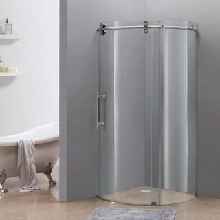 "Aston Frameless Round Stainless Steel Shower Enclosure (36""x36"")"