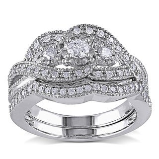 Miadora Sterling Silver 1/2ct TDW Diamond Split Shank Engagement Wedding Bridal Ring Set (G-H, I2-I3)