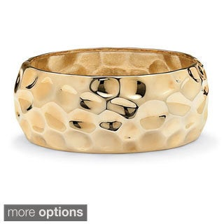 "PalmBeach Hammered-Style Bangle Bracelet in Yellow Goldtone or Silvertone 9"" Bold Fashion"