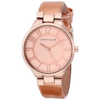 Anne Klein Women's AK-1632RGLP Classic Rosetone Leather Watch