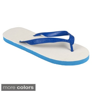 Journee Collection Women's Solid Color Rubber Flip Flops