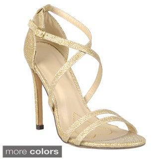 Journee Collection Women's 'Golden-22' Shimmer Ankle Strap Stillettos