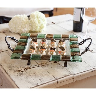 Square Platter with Colored Glass Tiles on Metal Stand