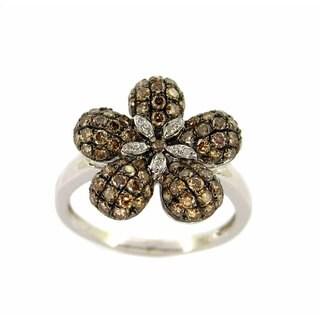 Kabella Luxe 18k White Gold 1 1/8ct TDW Brown Diamond Flower Ring