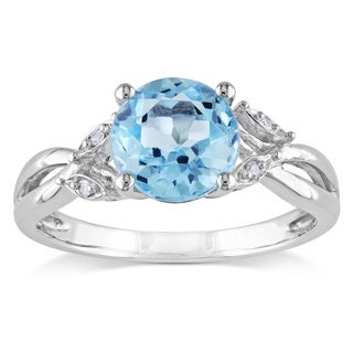 Miadora 10k White Gold Blue Topaz and Diamond Accent Cocktail Ring