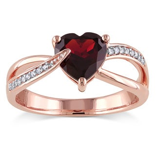 Miadora 10k Rose Gold Garnet and Diamond Accent Heart Ring