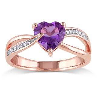 Miadora 10k Rose Gold Amethyst-Africa and Diamond Accent Heart Ring