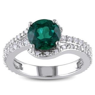 Miadora Silver Created Emerald, Created White Sapphire and 1/10ct TDW Diamond Ring (H-I, I2-I3)