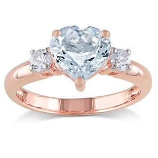 Miadora Rose Goldplated Silver Aquamarine and Created White Sapphire Heart Ring