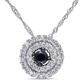 Miadora 14k White Gold 1/2ct TDW Black and White Diamond Halo Necklace