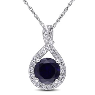Miadora 10k White Gold Created Blue Sapphire and 1/5ct TDW Diamond Necklace (H-I, I2-I3)