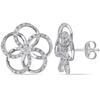 Miadora 10k White Gold 1/3ct TDW Diamond Flower Earrings (H-I, I2-I3)