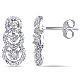 Miadora 10k White Gold 1/3ct TDW Diamond Stud Earrings (H-I, I2-I3)