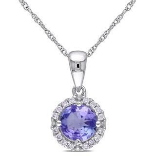 Miadora 10k White Gold Tanzanite and 1/10ct TDW Diamond Halo Necklace (H-I, I2-I3)