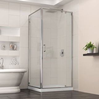 DreamLine Flex 32-in. W x 32-in. D x 74.75-in. H Frameless Shower Enclosure and Base Kit