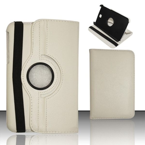 INSTEN White Rotatable Swivel Stand Leather Tablet Case Cover for Samsung Galaxy Tab 3 8.0