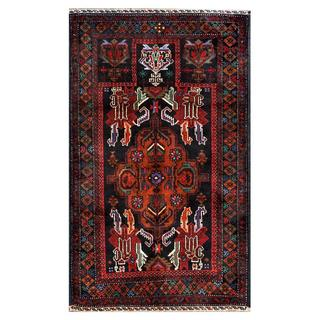 Herat Oriental Semi-antique Afghan Hand-knotted Tribal Balouchi Navy/ Brown Wool Rug (2'9 x 4'7)