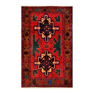 Herat Oriental Afghan Hand-knotted Tribal Balouchi Red/ Navy Wool Rug (2'9 x 4'5)