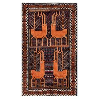 Herat Oriental Semi-antique Afghan Hand-knotted Tribal Balouchi Navy/ Brown Wool Rug (2'9 x 4'6)