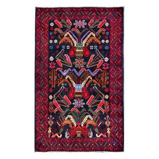 Herat Oriental Semi-antique Afghan Hand-knotted Tribal Balouchi Navy/ Red Wool Rug (2'9 x 4'6)
